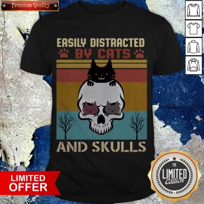 Easily Distracted By Cats And Skulls Day Of The Dead Vintage Shirt