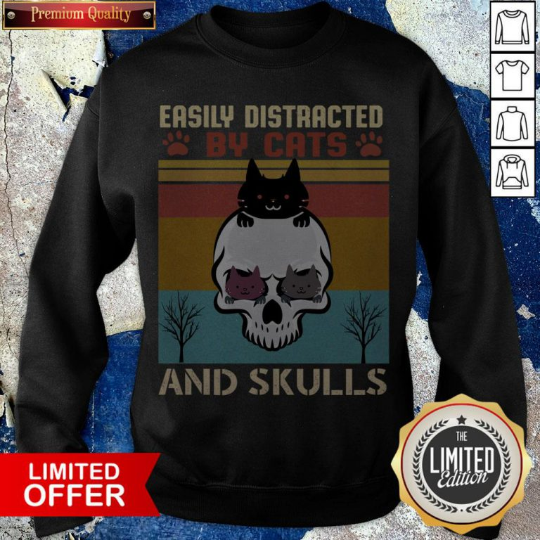 Easily Distracted By Cats And Skulls Day Of The Dead Vintage Sweatshirt