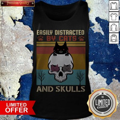 Easily Distracted By Cats And Skulls Day Of The Dead Vintage Tank Top