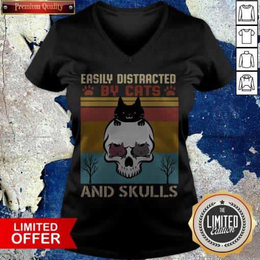 Easily Distracted By Cats And Skulls Day Of The Dead Vintage V-neck