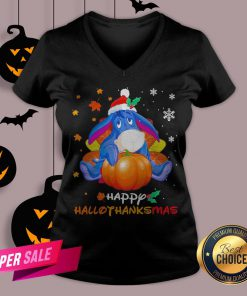 Eeyore Pumpkin Happy Hallothanksmas V-neck