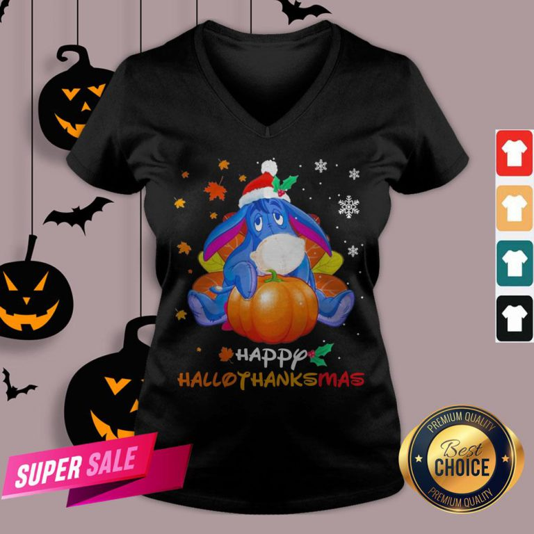 Eeyore Pumpkin Happy Hallothanksmas V-neck