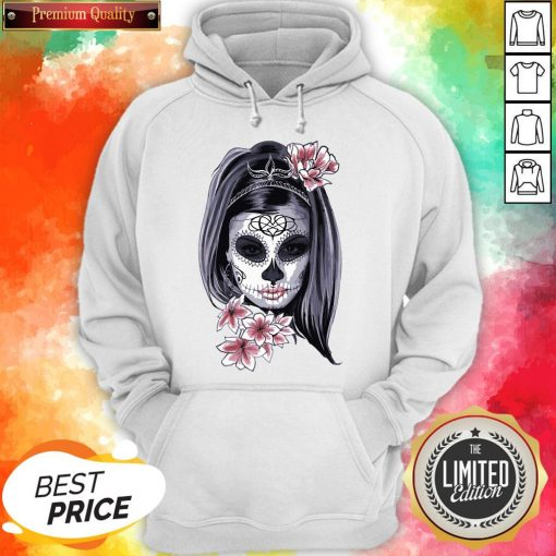 Female Sugar Skull Halloween Mardi Gras Or Day Of The Dead Hoodie