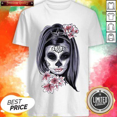 Female Sugar Skull Halloween Mardi Gras Or Day Of The Dead Shirt