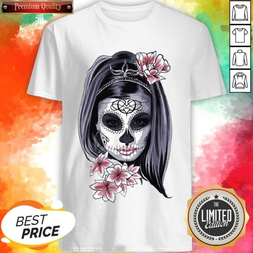 Female Sugar Skull Halloween Mardi Gras Or Day Of The Dead Shirt