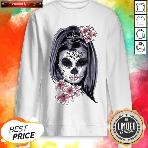 Female Sugar Skull Halloween Mardi Gras Or Day Of The Dead Sweatshirt