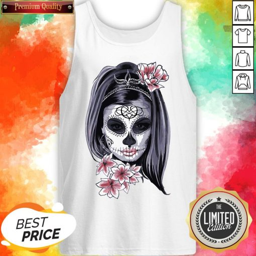 Female Sugar Skull Halloween Mardi Gras Or Day Of The Dead Tank Top