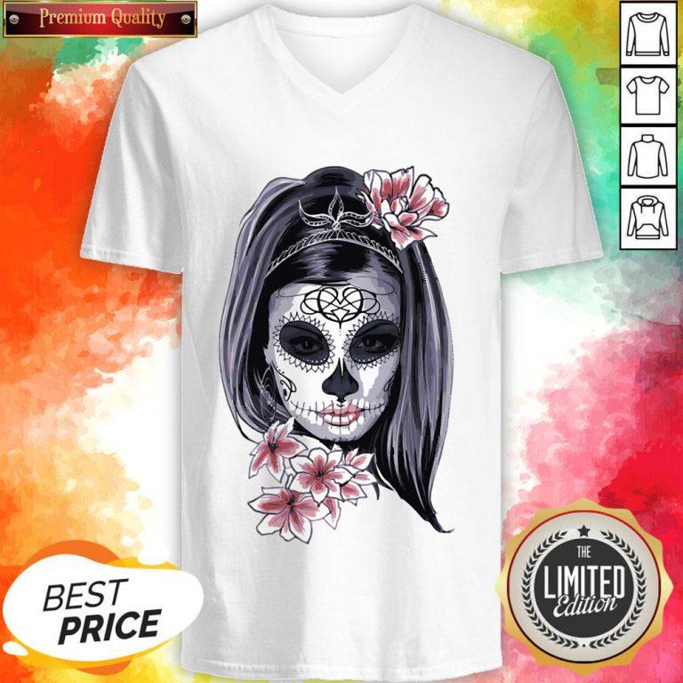 Female Sugar Skull Halloween Mardi Gras Or Day Of The Dead Sweatshirt