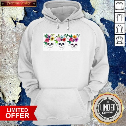 Floral Watercolor Sugar Skulls Day Of The Dead Dia De Muertos Hoodie