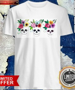 Floral Watercolor Sugar Skulls Day Of The Dead Dia De Muertos Shirt