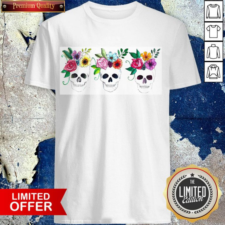 Floral Watercolor Sugar Skulls Day Of The Dead Dia De Muertos Shirt
