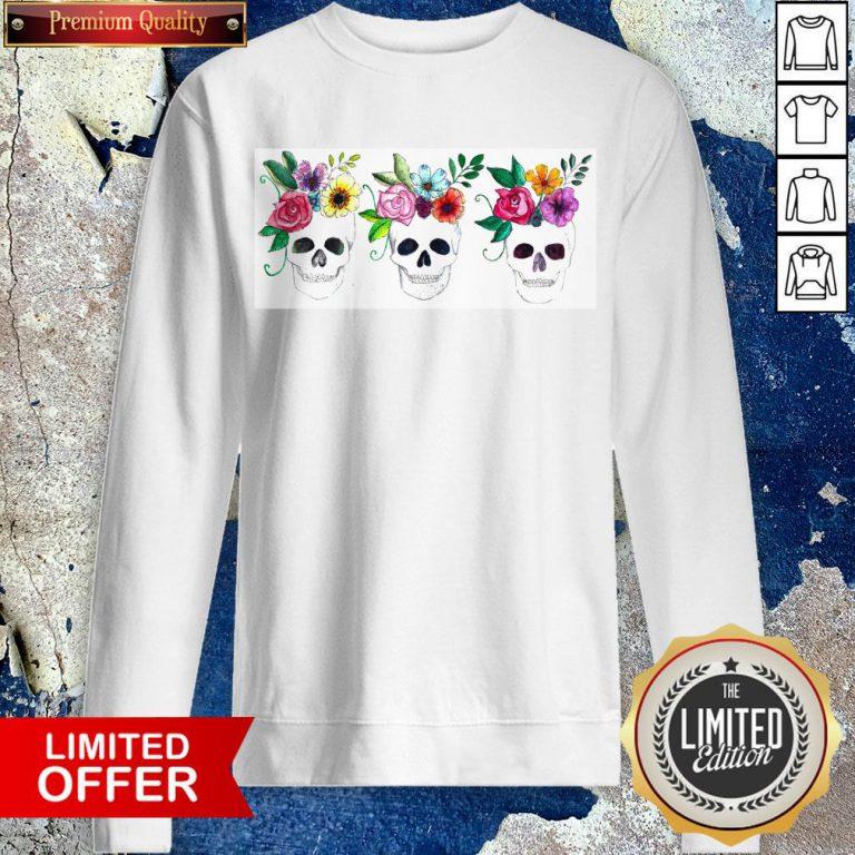 Floral Watercolor Sugar Skulls Day Of The Dead Dia De Muertos Sweatshirt