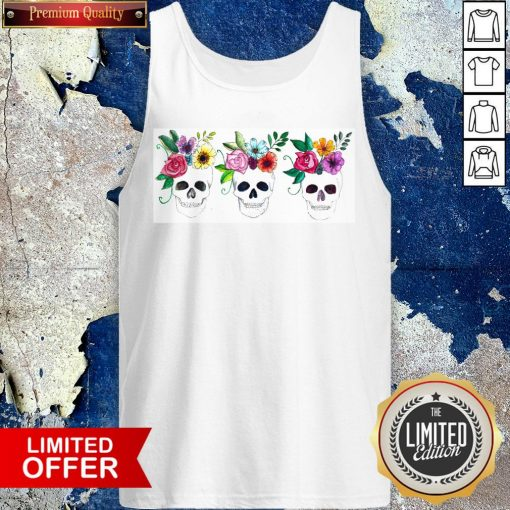 Floral Watercolor Sugar Skulls Day Of The Dead Dia De Muertos Tank Top