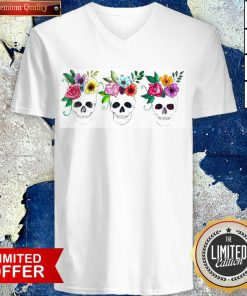 Floral Watercolor Sugar Skulls Day Of The Dead Dia De Muertos V-neck