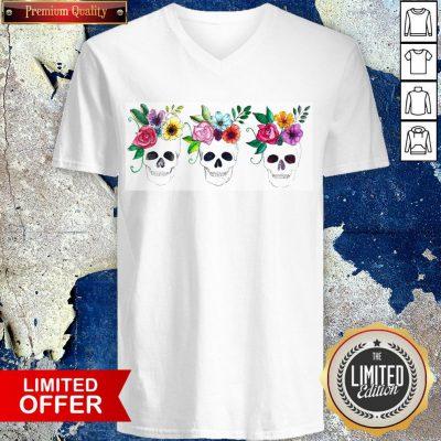 Floral Watercolor Sugar Skulls Day Of The Dead Dia De Muertos V-neck