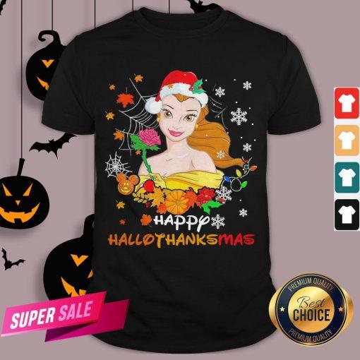 Funny Belle Happy Hallothanksmas Shirt