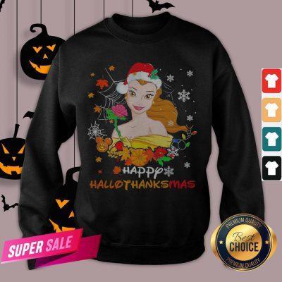 Funny Belle Happy Hallothanksmas Sweatshirt