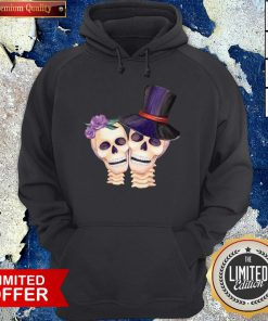 Funny Cute Smiling Couple Lover Skull Floral Roses And Leaf Dia De Muertos Day Dead Halloween Hoodie