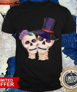 Funny Cute Smiling Couple Lover Skull Floral Roses And Leaf Dia De Muertos Day Dead Halloween Shirt