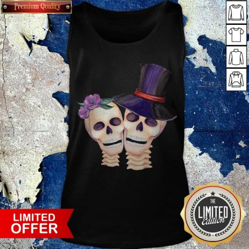 Funny Cute Smiling Couple Lover Skull Floral Roses And Leaf Dia De Muertos Day Dead Halloween Tank Top