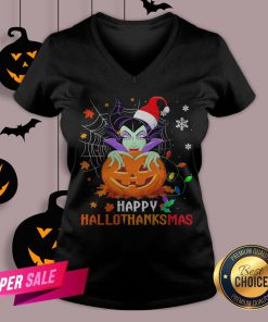 Maleficent Pumpkin Happy Hallothanksmas V-neck