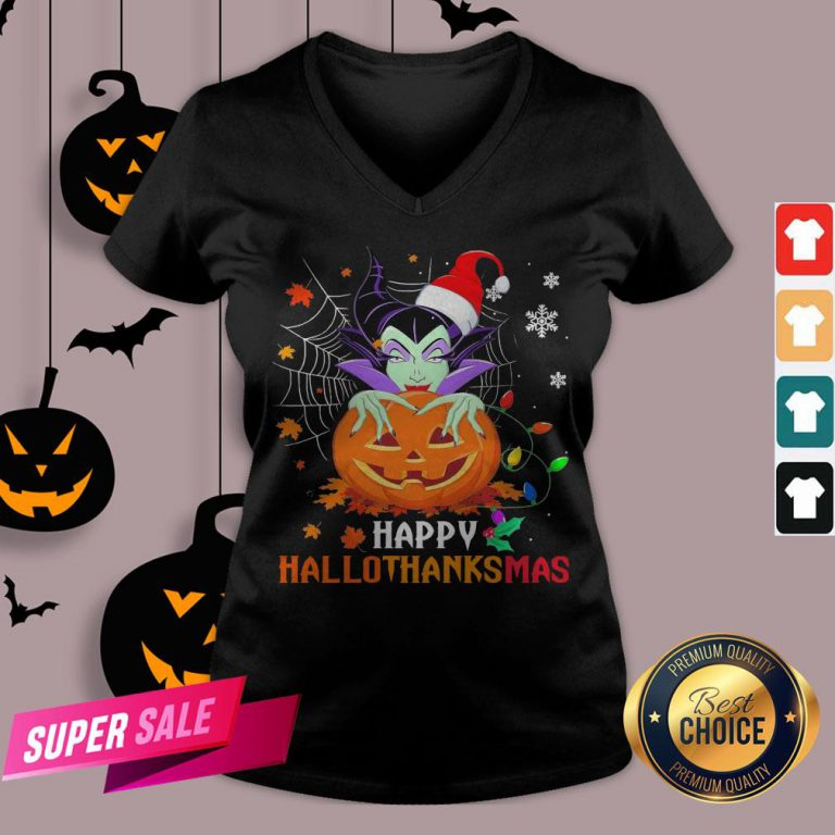Maleficent Pumpkin Happy Hallothanksmas V-neck
