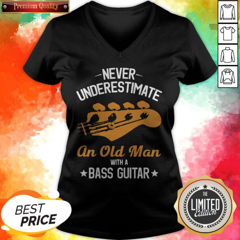 Never Underestimate An Old Man With A Bass Guitar V-neck