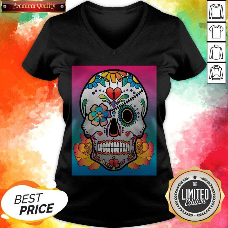 Nice Sugar Skull Flower Day Of The Dead Muertos V-neck