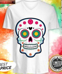 Official Sugar Skull Day Of Dead Dia De Los Muertos V-neck