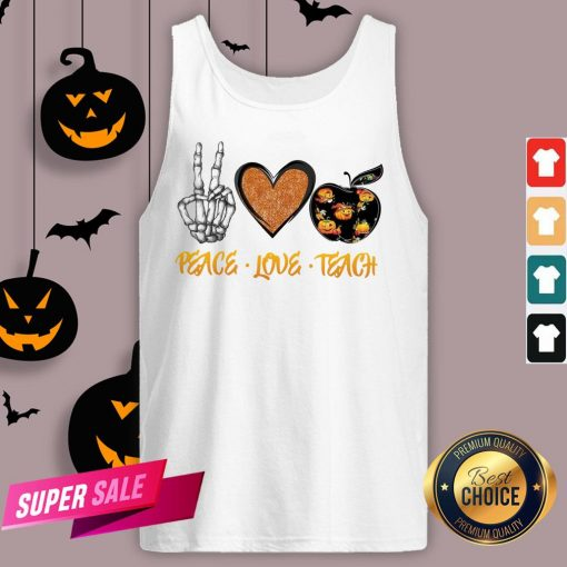 Peace Love Teach Halloween Classic T-Tank Top