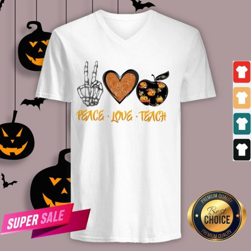 Peace Love Teach Halloween Classic T-V-neck