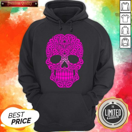 Pink Swirling Sugar Skull Day Of The Dead Hoodie