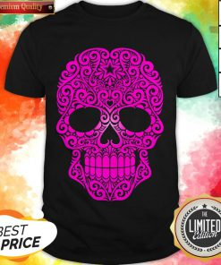 Pink Swirling Sugar Skull Day Of The Dead Shirt