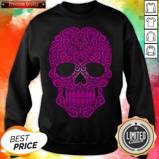 Pink Swirling Sugar Skull Day Of The Dead Sweatshirt