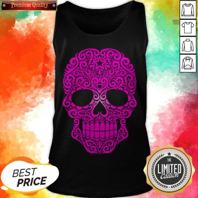Pink Swirling Sugar Skull Day Of The Dead Tank Top