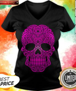 Pink Swirling Sugar Skull Day Of The Dead V-neck