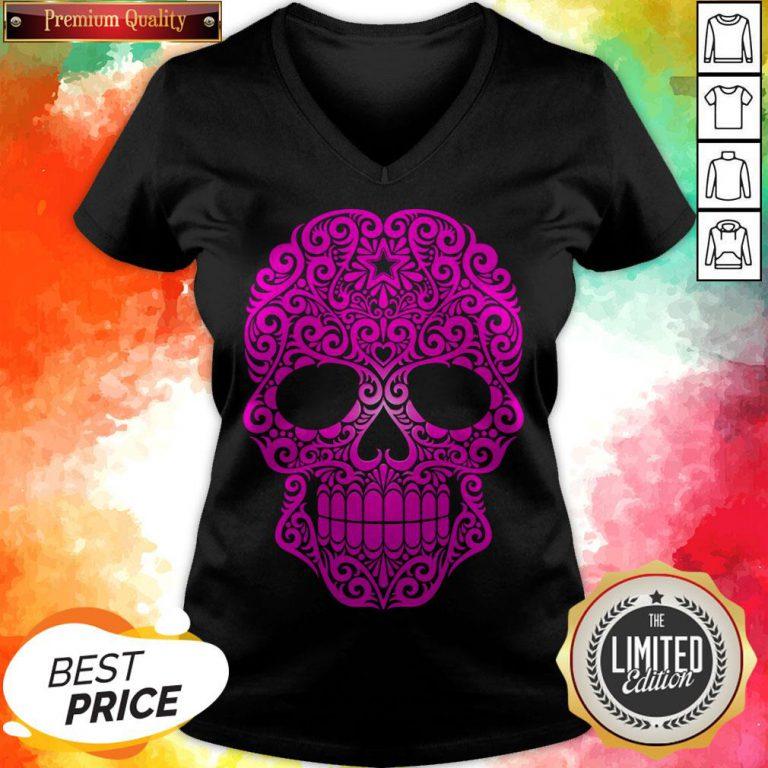 Pink Swirling Sugar Skull Day Of The Dead V-neck