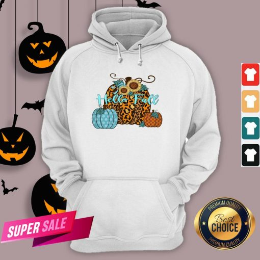 Pumpkin Hello Fall Mini Cheetah Flower Halloween Classic Hoodie