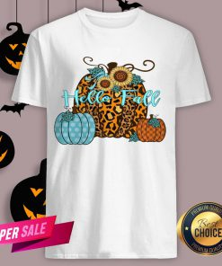Pumpkin Hello Fall Mini Cheetah Flower Halloween Classic T-Shirt