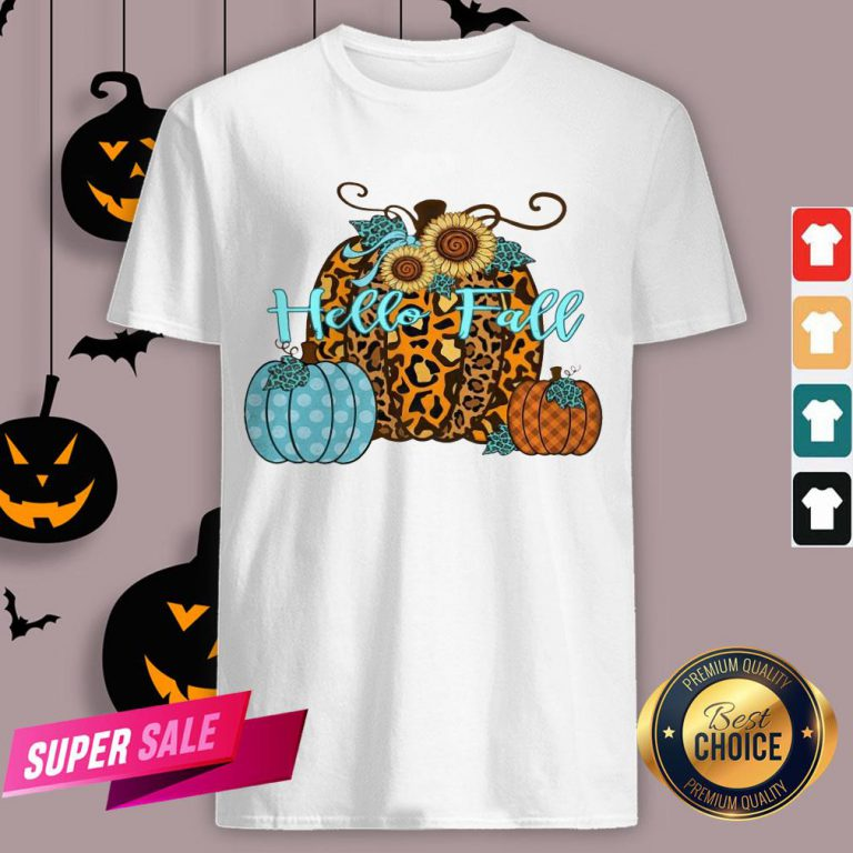 Pumpkin Hello Fall Mini Cheetah Flower Halloween Classic T-Shirt