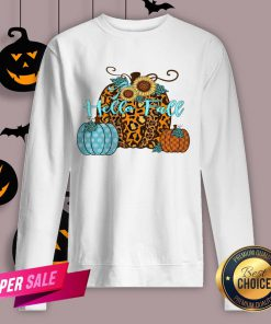 Pumpkin Hello Fall Mini Cheetah Flower Halloween Classic Sweatshirt