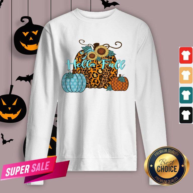 Pumpkin Hello Fall Mini Cheetah Flower Halloween Classic Sweatshirt