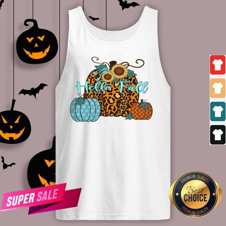 Pumpkin Hello Fall Mini Cheetah Flower Halloween Classic Tank Top