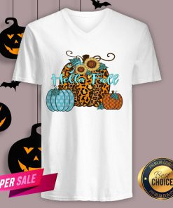 Pumpkin Hello Fall Mini Cheetah Flower Halloween Classic V-neck