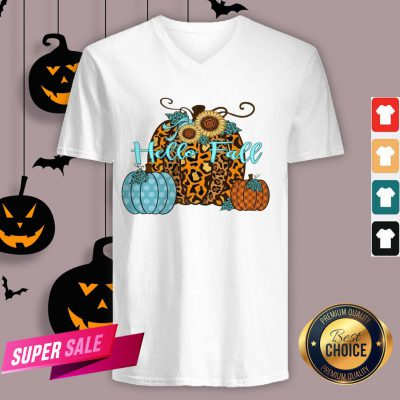 Pumpkin Hello Fall Mini Cheetah Flower Halloween Classic V-neck