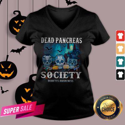 Skull Witch Dead Pancreas Society Diabetes Classic T-V-neck