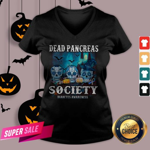 Skull Witch Dead Pancreas Society Diabetes Classic T-V-neck
