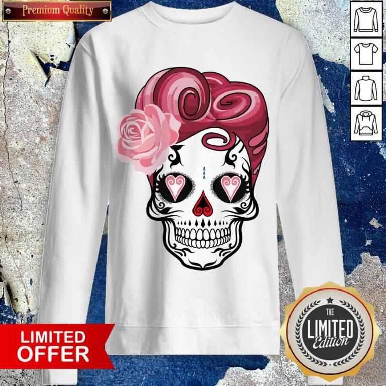 Sugar Bubblegum Pinup Skulls Day Of The Dead Dia De Muertos Sweatshirt