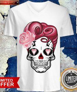 Sugar Bubblegum Pinup Skulls Day Of The Dead Dia De Muertos V-neck