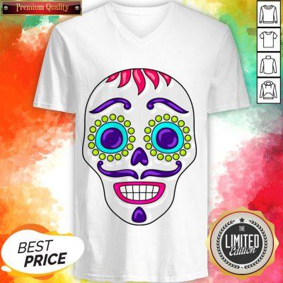Sugar Skull Day Dead Dia De Los Muertos V-neck